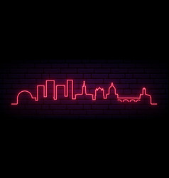red neon skyline toulouse bright toulouse city vector image