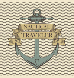 retro travel banner with ship anchor vector image