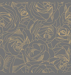 roses bud outlines seamless pattern with flowers vector image