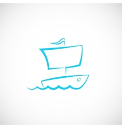 Sailing Boat Hand Drawn Symbol Icon or Logo vector