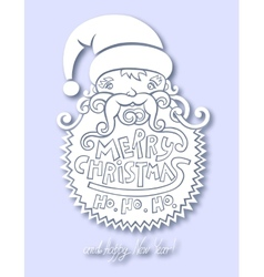Santa claus head merry christmas happy new year vector