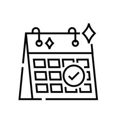 Schedule release line icon concept sign outline vector