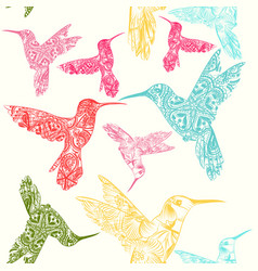 Seamless pattern with colorful hummingbirds vector