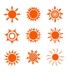 set glossy sun images vector image
