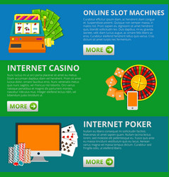set of 3 online gambling banners slot machines vector image