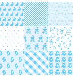 set of baby boy patterns seamless blue pattern ve vector image