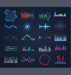 set of isolated futuristic music sound equalizer vector image
