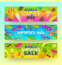 set of summer sale banners vector image