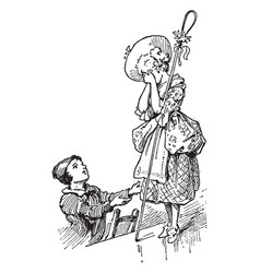 shepherdess and chimney-sweep vintage vector image