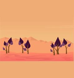 Silhouette of tree on desert scenery vector