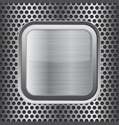 Square chrome button on perforated background vector