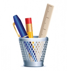 stack pen pencil ruler vector image