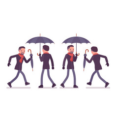 Stylish middle aged man with umbrella walking and vector