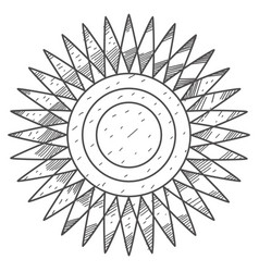 Stylized sun disk with sharp rays coloring vector