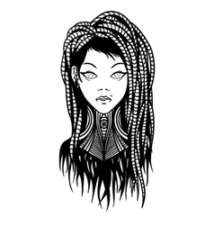Subcultural girl with dreadlocks and piercing vector