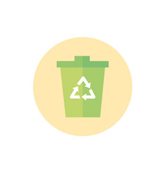 trash can recycle green energy block icon vector image