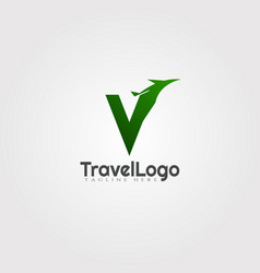 Travel agent logo design with initials v letter vector