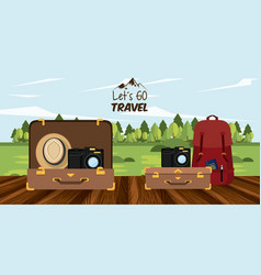Travel journey and tourism places vector