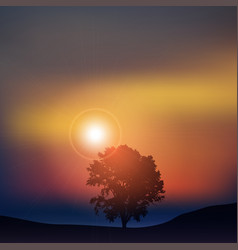Tree at sunset vector