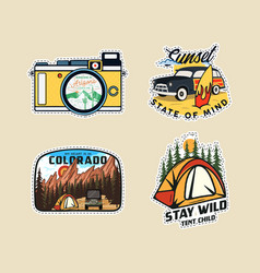 Vintage camp patches logos mountain badges set vector