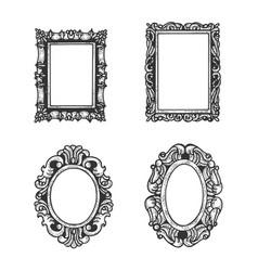 vintage picture frames set sketch engraving vector image