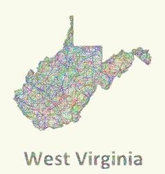 West Virginia line art map vector