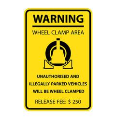 wheel clamping warning sign - no parking car vector image