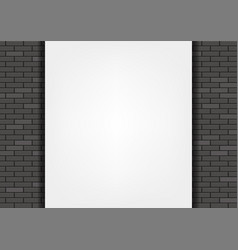 white blank banner on a black brick wall vector image