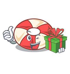 with gift swim tube mascot cartoon vector image