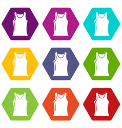women t shirt icons set 9 vector image