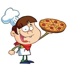 Boy Chef Showing A Delicious Pizza vector image vector image