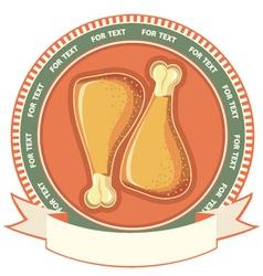 chicken drumstick meat label background vector image