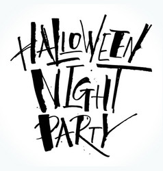 halloween night party lettering vector image vector image