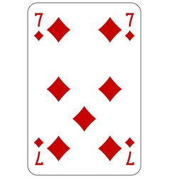 Poker playing card 7 diamond vector