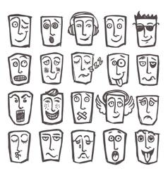 Sketch emoticons set vector image vector image
