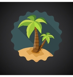Summer Travel Sea Island with Palm flat icon vector image