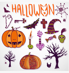whimsical halloween doodle sketches hand drawn vector image vector image