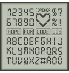 Digital display font alphabet letters and numbers vector image vector image