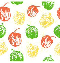 ink hand drawn seamless pattern with paprika vector image vector image