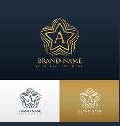 letter a logo concept design with star shape vector image vector image