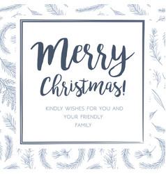 merry christmas greeting card postcard design vector image