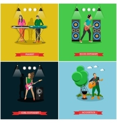 set of banners with musicians playing vector image