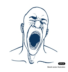 Shouting or yawning or tired man vector image