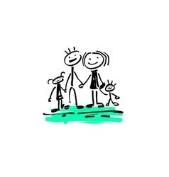 drawing sketch doodle human stick figure happy vector image