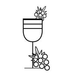 Figure wine glass with grape fruit vector