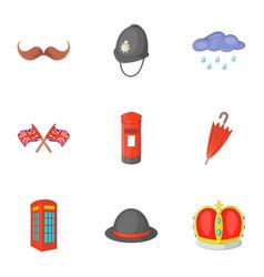 United kingdom things icons set cartoon style vector