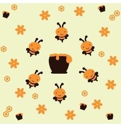 Bees around a honeypot vector image