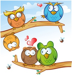 comic owl group cartoon on tree vector image vector image