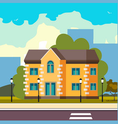 cool detailed house icon on street vector image vector image