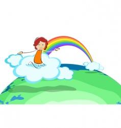 girl on cloud with rainbow vector image